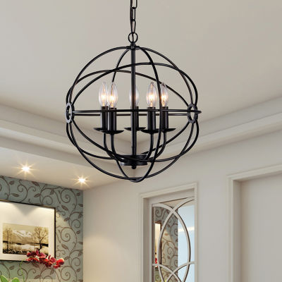 Warehouse Of Tiffany Meila 5-light Black 16-inch Spherical Chandelier