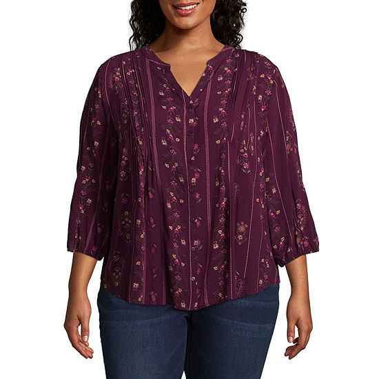 St. John's Bay 3/4 Sleeve Pleated Button Front Tunic - Plus