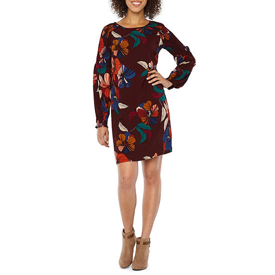 Ronni Nicole Long Sleeve Midi Floral Shift Dress