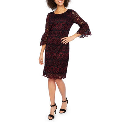 Robbie Bee 3/4 Sleeve Lace Scroll Sheath Dress