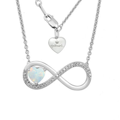 Hallmark Diamonds Womens Lab Created White Opal Sterling Silver Infinity Pendant Necklace
