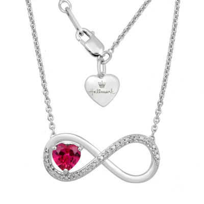 Hallmark Diamonds Womens Lab Created Red Ruby Sterling Silver Infinity Pendant Necklace