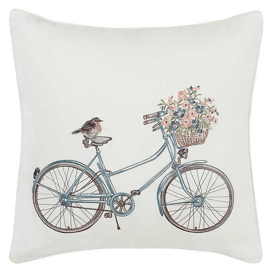 Laura Ashley Bicycle Square Throw Pillow