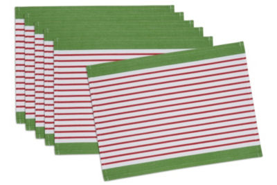 Design Imports Christmas Candy Apple Stripe Placemat Set of 6