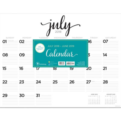 July 2018 - June 2019  Script Desk Pad Calendar