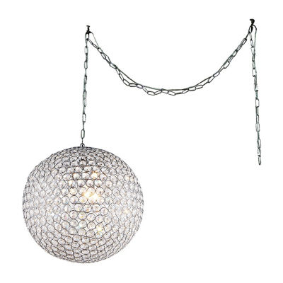 Warehouse Of Tiffany Jessie 3-light Crystal Round 12-inch Chrome Swag Lamp