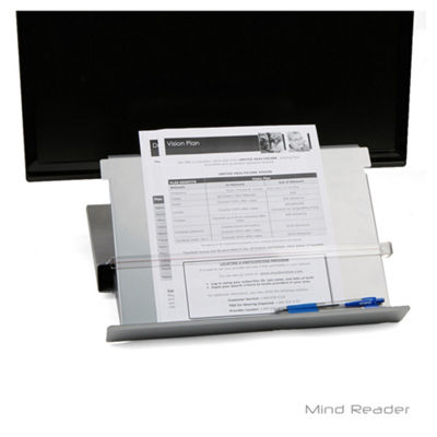 Mind Reader Metal Monitor Stand Riser with Resting Document Holder Easel, Silver