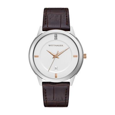 Wittnauer Mens Brown Strap Watch-Wn1020