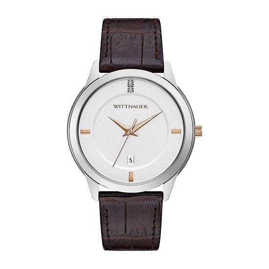 Wittnauer Mens Brown Strap Watch Wn1020