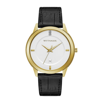 Wittnauer Mens Black Strap Watch-Wn1021