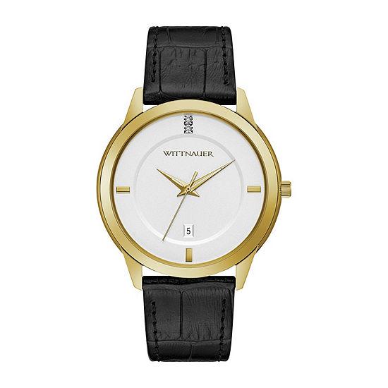 Wittnauer Mens Black Strap Watch-Wn1021