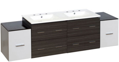 76-in. W Wall Mount White-Dawn Grey Vanity Set For3H8-in. Drilling