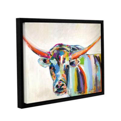 Long Horn Floater-Framed Gallery Wrapped Canvas