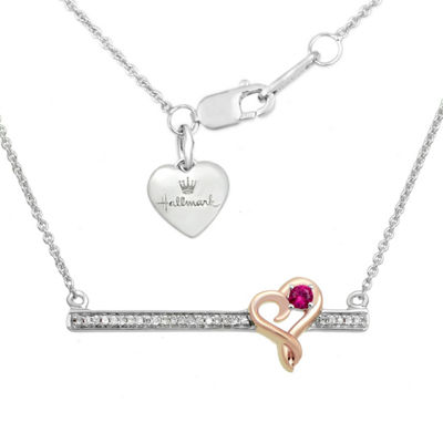 Hallmark Diamonds Womens Lab Created Red Ruby 14K Rose Gold Over Silver Pendant Necklace