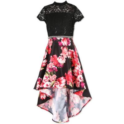 Speechless Embellished Short Cap Sleeve Floral Maxi Dress - Big Kid Girls