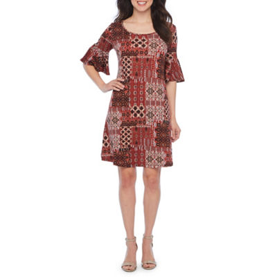 Ronni Nicole Short Bell Sleeve Patchwork Shift Dress
