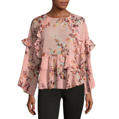a.n.a Ana Printed Ruffle Blouse Womens Crew Neck Long Sleeve Floral Blouse