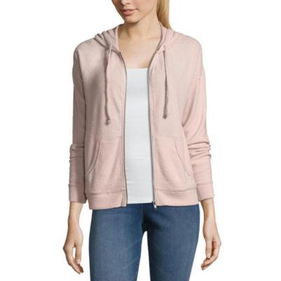 Pink Rose Long Sleeve Knit Hoodie-Juniors