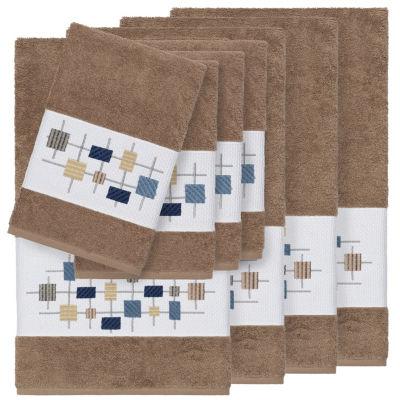 Linum Home Textiles 100% Turkish Cotton Khloe 8PC Embellished Towel Set