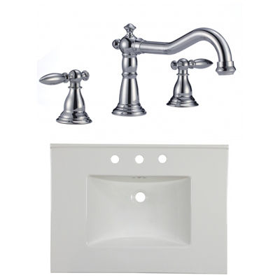 30.75-in. W 3H8-in. Ceramic Top Set In White Color- CUPC Faucet Incl.