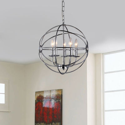 Warehouse Of Tiffany Aidee 5-light Chrome 16-inch Spherical Chandelier