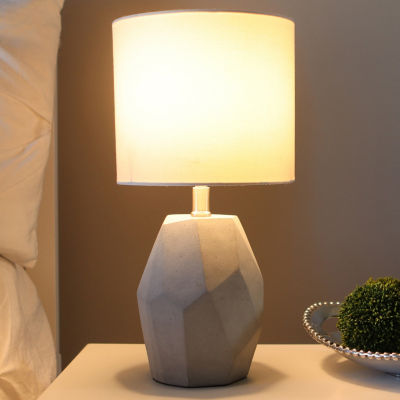 Decor Therapy Jamison Grey Cement Geo Table Lamp