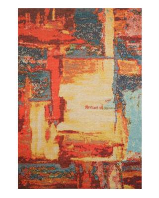 Distressed Red Bohemian Moderno Art Rug