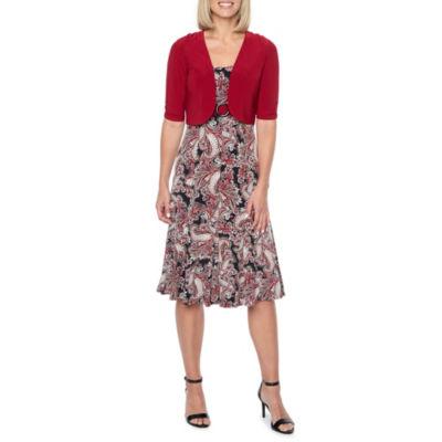 Perceptions Short Sleeve Puff Print Jacket Dress