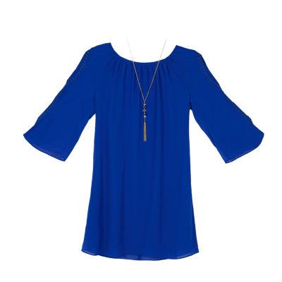 by&by girl 3/4 Sleeve Split Sleeve A-Line Dress - Big Kid Girls