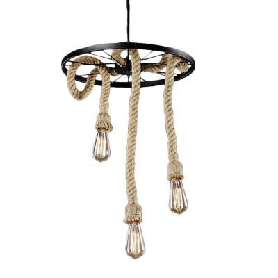 Warehouse Of Tiffany Tamia 3-light Hemp Rope 18-inch Edison Chandelier with Bulbs