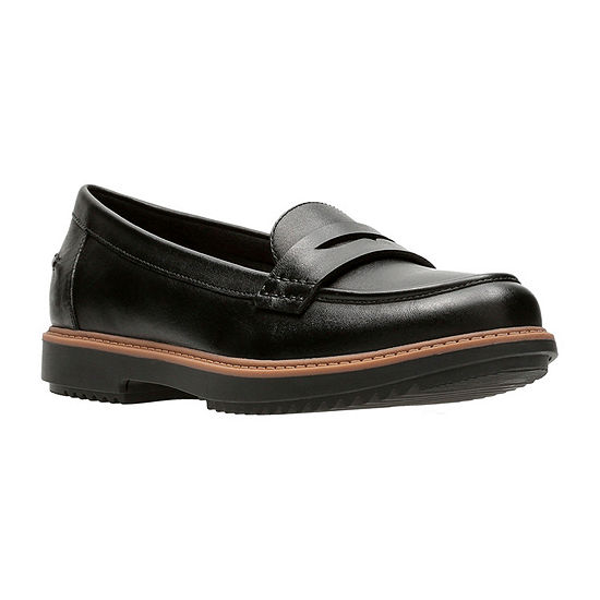 Clarks Womens Raise Eletta Leather Slip-On