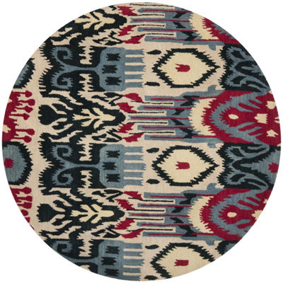Safavieh Ikat Collection Eirann Geometric Round Area Rug