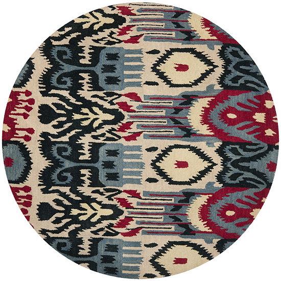 Safavieh Ikat Collection Eirann Geometric Round Area Rug