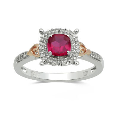 Hallmark Diamonds Womens Lab Created Red Ruby 14K Rose Gold Over Silver Cocktail Ring
