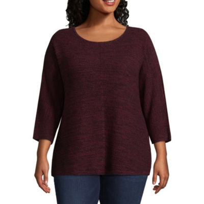 Boutique + 3/4 Sleeve Marled Sweater - Plus