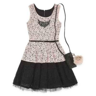 Knit Works Belted Sleeveless Skater Dress - Big Kid Girls Plus