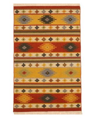 Handwoven Wool Multi Traditional Geometric Kilim Rug