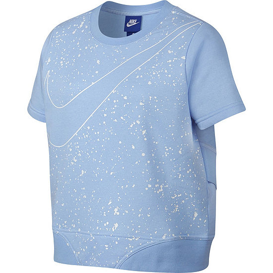 Nike Short Sleeve Cropped Swoosh Sweatshirt - Girls 7-16