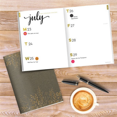 Tf Publishing July 2018 - June 2019 Mushroom Leather Weekly Monthly Agenda Planner