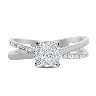 Womens 1/4 CT. T.W. Genuine White Diamond 14K White Gold Engagement Ring