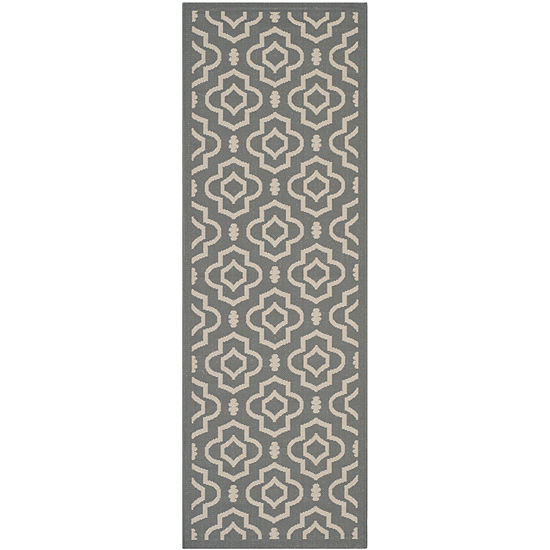 Safavieh Courtyard Collection Meryll Geometric Indoor/Outdoor Runner Rug
