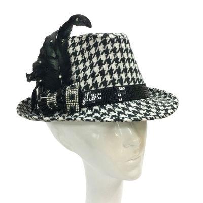 Whittall & Shon Houndstooth Fedora Derby Hat