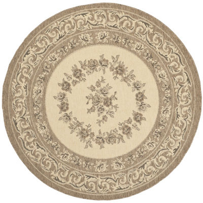Safavieh Courtyard Collection Dorothea Oriental Indoor/Outdoor Round Area Rug