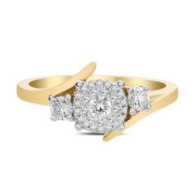 Womens 1/3 CT. T.W. Genuine White Diamond 14K Gold Engagement Ring