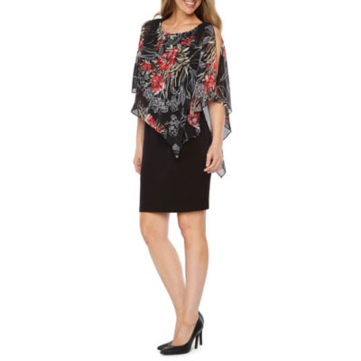 Connected Apparel Sleeveless Floral Cape Sheath Dress