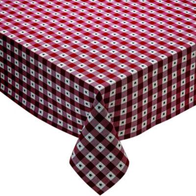 Design Imports Star Dobby Checker Tablecloth
