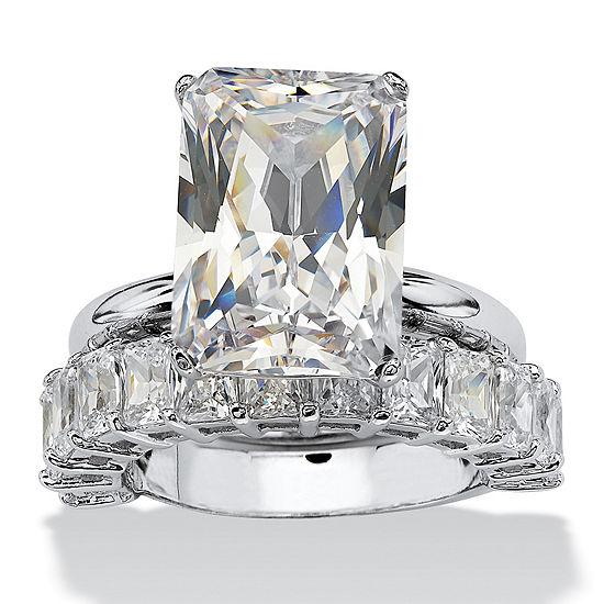 Diamonart Womens White Cubic Zirconia Platinum Over Silver Bridal Set