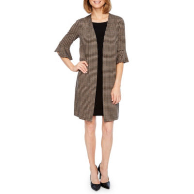 Perceptions Short Bell Sleeve Faux Jacket Dress