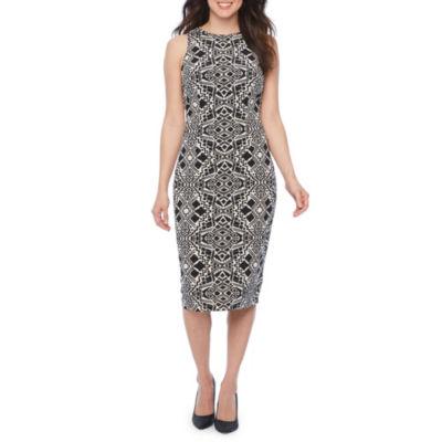 London Times Sleeveless Geometric Sheath Dress
