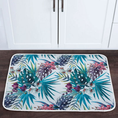 Tayse Tropicana Transitional Floral Anti-Fatigue Comfort Kitchen Mat